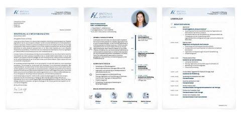 Bewerbungsdesign Individuell - Antonia Zuberer - inkl. Monogramm, Kurzprofil mit Zeitleiste als Deckblatt, individuelle Icons für Erfahrungsfelder