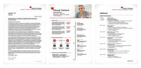 Bewerbungsdesign Individuell - Manuel Vierkant - inkl. Monogramm und Kurzprofil mit Zeitleiste als Deckblatt