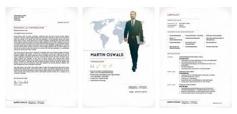 Bewerbungsdesign Individuell - Martin Oswald - individuelles Layout für Deckblatt sowie Kopf- und Fußzeile, Icons für Kompetenzfelder