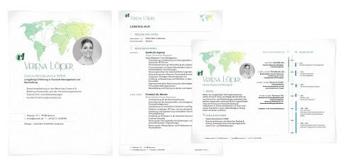 Bewerbungsdesign Individuell - Verena Loeper inkl. Monogramm und Kurzprofil
