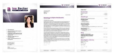 Bewerbungsdesign Individuell Beispiel - Ina Becker, Diplom Betriebswirtin