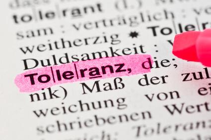 Das Wort Toleranz im Wörterbuch markiert