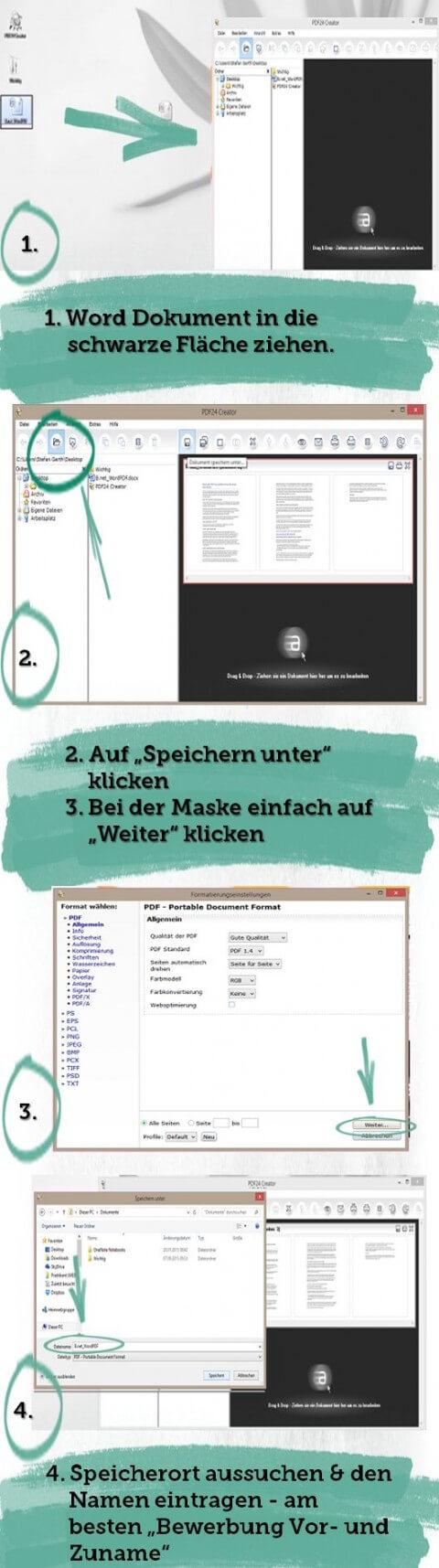 Bewerbung als PDF Schritt für Schritt Anleitung