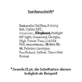 Darstellung von Schriftarten mit Serifen