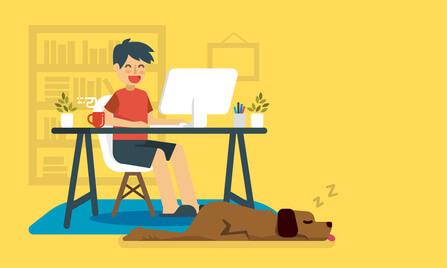 Hund als Stolperfalle für den Büroalltag