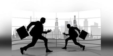 Geschäftsmänner in Eile für kurzfristiges Vorstellungsgespräch