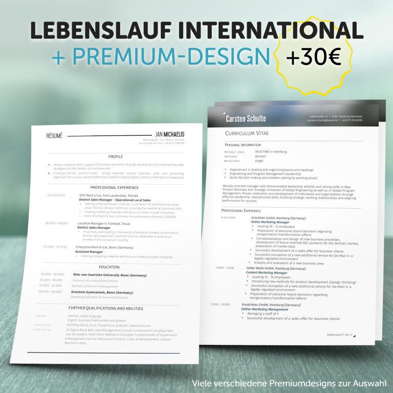 Unser Lebenslauf International im Premium-Design