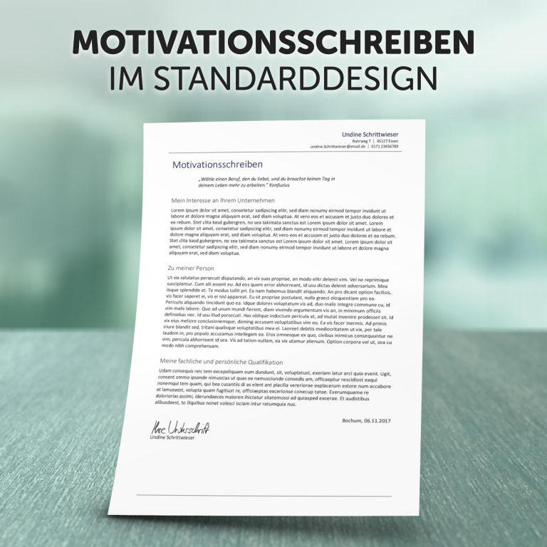 Unser Motivationsschreiben im Standard-Design